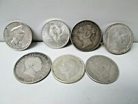LOT OF 7 VINTAGE FOREIGN WORLD SILVER COINS