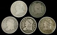 5 1830- 1837 SILVER UNITED STATES CAPPED BUST 5C HALF DIME CIRC COIN LOT