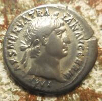 EX CNG: VF  TRAJAN 98 117 AD. SILVER DENARIUS ROME. VICTORY IN PROW WITH SERPENT