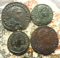 LOT OF 4 TAGS SAY GALLERIUS CONSTANS VALENS THEODOSIUS. EX CNG MOSTLY SHARP