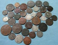 CLEARANCE MIXED LOT OF 37 OLD COPPER SILVER COINS 1800S 1700