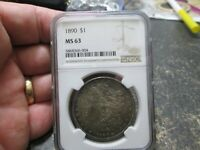 1890 US MORGAN SILVER DOLLAR NGC MINT STATE 63 UNCIRCULATED  TONE