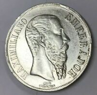 1866 MEXICO ONE PESO SILVER MAXIMILIANO MEXICO 27.1 GRAMS