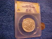 1924 HUGUENOT WALLOON SILVER HALF DOLLAR ANACS EF 40 DETAILS CLEANED EXTRA FINE  . JDSP