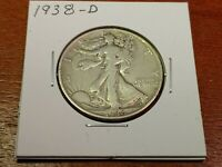 1938-D WALKING LIBERTY SILVER HALF DOLLAR 50C F/VF POSSIBLE OLD CLEANING