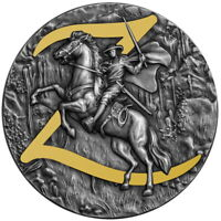 ZORRO 2 OZ SILVER ANTIQUED HIGH RELIEF COIN $5 NIUE 2021
