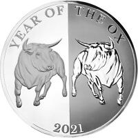 MIRROR OX   YEAR OF THE OX 1 OZ SILVER COIN 65 MM TOKELAU 20