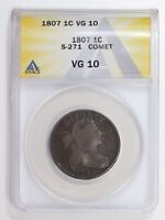 LARGE CENTS DRAPED BUST 1807  ANACS VG-10 COMET TAIL S-271
