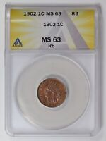 SMALL CENTS INDIAN HEAD 1902  ANACS MINT STATE 63