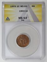 SMALL CENTS INDIAN HEAD 1903  ANACS MINT STATE 63