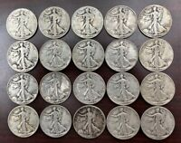 ROLL OF 20 WALKING LIBERTY HALF DOLLARS - AT LEAST 15 DIFFERENT DATES/MINT MARKS
