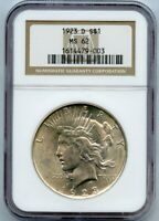 1923-D S$1 PEACE SILVER DOLLAR NGC MINT STATE 62