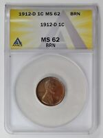 SMALL CENTS LINCOLN, WHEAT EARS REVERSE 1912 D ANACS MINT STATE 62