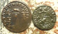 LOT OF TWO GRADED EF BY PAST COLLECTOR: TAGS SAY CONSTANTINE II & CONSTANTINE I