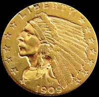 1909 GOLD $2.5 DOLLAR INDIAN HEAD QUARTER EAGLE COIN OUT FRO
