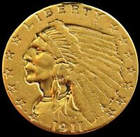1911  GOLD US $2.5 DOLLAR INDIAN HEAD COIN OUT FROM JEWELRY