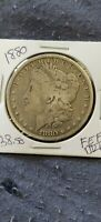 1880  KM110  MORGAN SILVER DOLLAR  'LY WORN'
