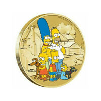 2019 THE SIMPSONS TUVALU $1 DOLLAR COLOURED UNC COIN CARDED