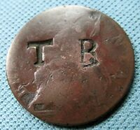 1700S GEORGE III BRITISH HALFPENNY OLD COPPER COIN   COUNTER