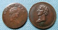 LOT OF 1800S COLUMBIA FARTHING TOKENS   OLD COPPER COINS GRE