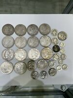 LOT OF 90  MORGAN SILVER DOLLARS COINS WITH OTHER MIXED SILV