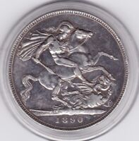 1890  QUEEN  VICTORIA  LARGE  CROWN / FIVE SHILLING  COIN