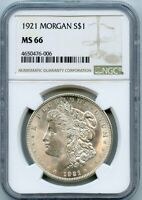 1921 $1 MORGAN SILVER DOLLAR COIN NGC MINT STATE 66
