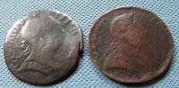LOT OF 2 1700S GEORGE III BRITISH US COLONIAL HALFPENNIES