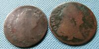 LOT OF 2 1700S GEORGE III IRISH US COLONIAL HALFPENNIES   NO