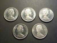 LOT OF 5 CANADA BU BUSINESS STRIKE 50C WITH CAMEO AND HEAVY CAMEO  1968 1974