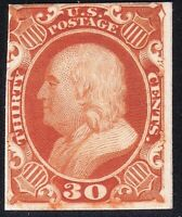 US STAMP 46P4  1857  30C  PLATE PROOF ON CARD STAMP