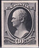 US STAMP 165P4  1874 75  30C  PLATE PROOF ON CARD STAMP
