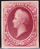 US STAMP 166P4  1874 75  90C  PLATE PROOF ON CARD STAMP