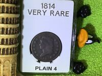 1814 CLASSIC HEAD LARGE CENT PLAIN 4 FULL LIBERTY & DATE IN BCW SLAB