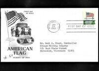 AMERICAN FLAG 6C. 1338 SERIES OF 1968 FDC ART CRAFT CACHE.