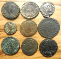 LOT: 9 TAG IDENTIFIED ANCIENT ROMAN COINS ALL VF TO VF  CONSTANTINE FAMILY ETC