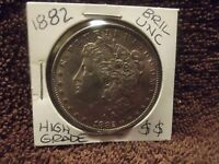 1882 MORGAN SILVER DOLLAR BRILLIANT UNCIRCULATED GREAT LUSTER& STRONG LINES