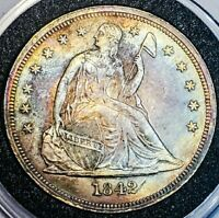 1842 CH AU/UNC SEATED LIBERTY 1$ ONE DOLLAR GORGEOUS SHARP DETAILS. 887