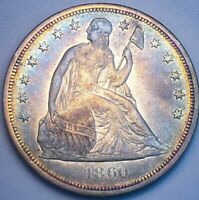 1860 O SEATED LIBERTY 1$ ONE DOLLAR SHARP DETAILS. 888