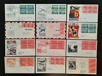 FDC 1943 1949 COLLECTION OF  12  DIFF AIRMAIL FIRST DAY COVERS BLOCKS PANES COIL