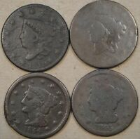 1819,ND1820??,1844,  1845 LARGE CENTS WITH ISSUES AS PICTURED