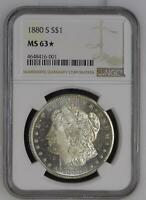 MORGAN SILVER DOLLAR 1880 S NGC MINT STATE 63