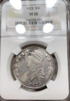 1823 CAPPED BUST HALF DOLLAR NGC VF35 50C SILVER