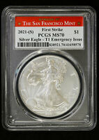 2021 S AMERICAN SILVER EAGLE T1 EMERGENCY ISSUE PCGS MS 70 SAN FRANCISCO