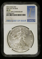 2016 AMERICAN SILVER EAGLE NGC MS 70   BU ASE FIRST DAY OF ISSUE FDOI