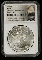 2016 AMERICAN SILVER EAGLE NGC MINT STATE 69   BU ASE EAGLE LABEL