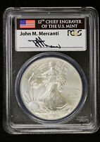2015 AMERICAN SILVER EAGLE PCGS MS 70   BU ASE FIRST STRIKE MERCANTI SIGNED