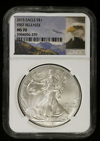 2015 AMERICAN SILVER EAGLE NGC MS 70   BU ASE FIRST RELEASES