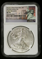 2015 AMERICAN SILVER EAGLE NGC MS 70   BU ASE EARLY RELEASES
