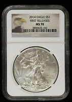2014 AMERICAN SILVER EAGLE NGC MS 70   BU ASE FISRT RELEAES